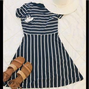 LOFT Grey and White Stripe Dress - Size 2P